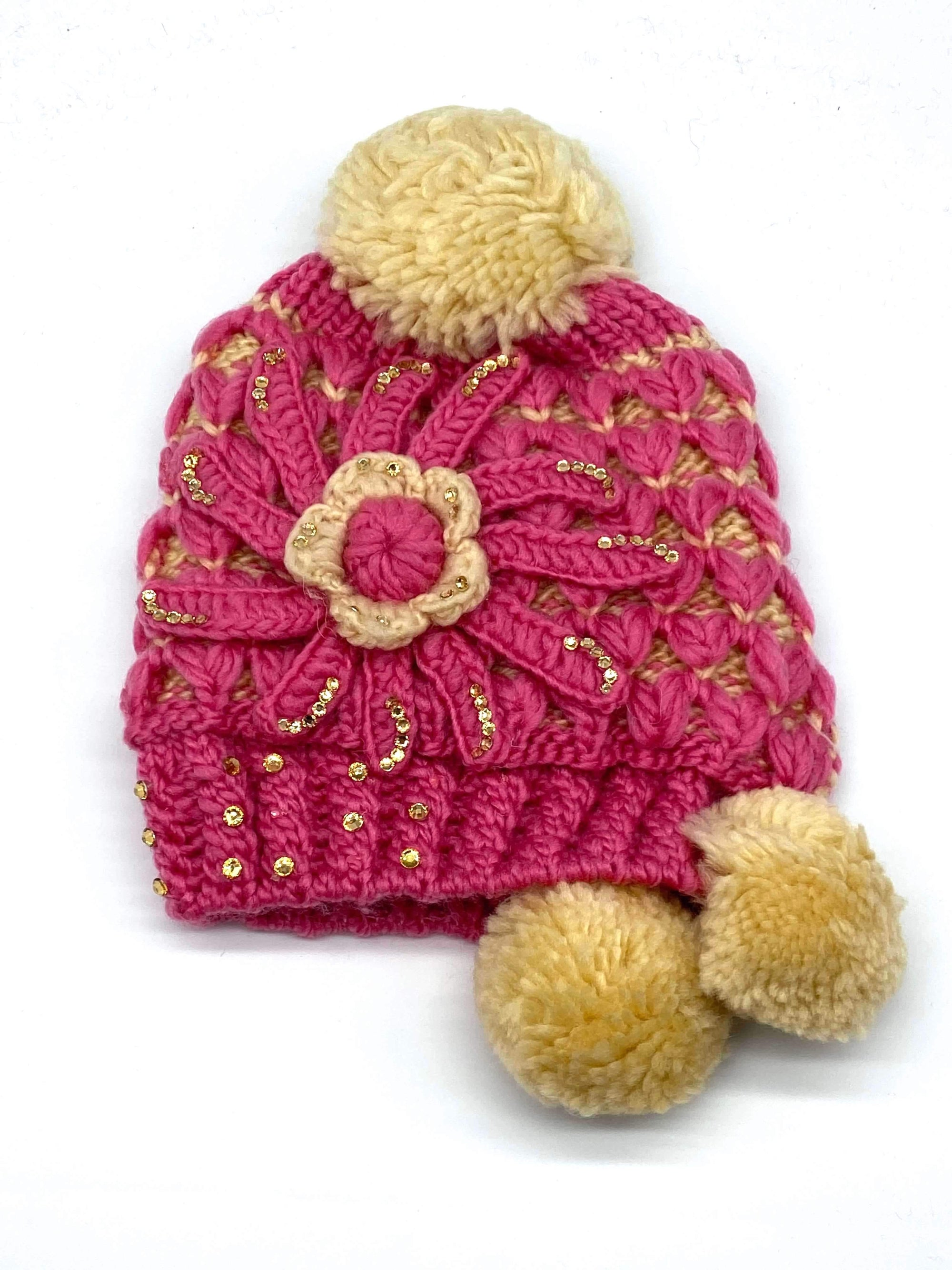 #MHA2552 Dangle Pom Pom Flower Beanie (Multiple Colors)