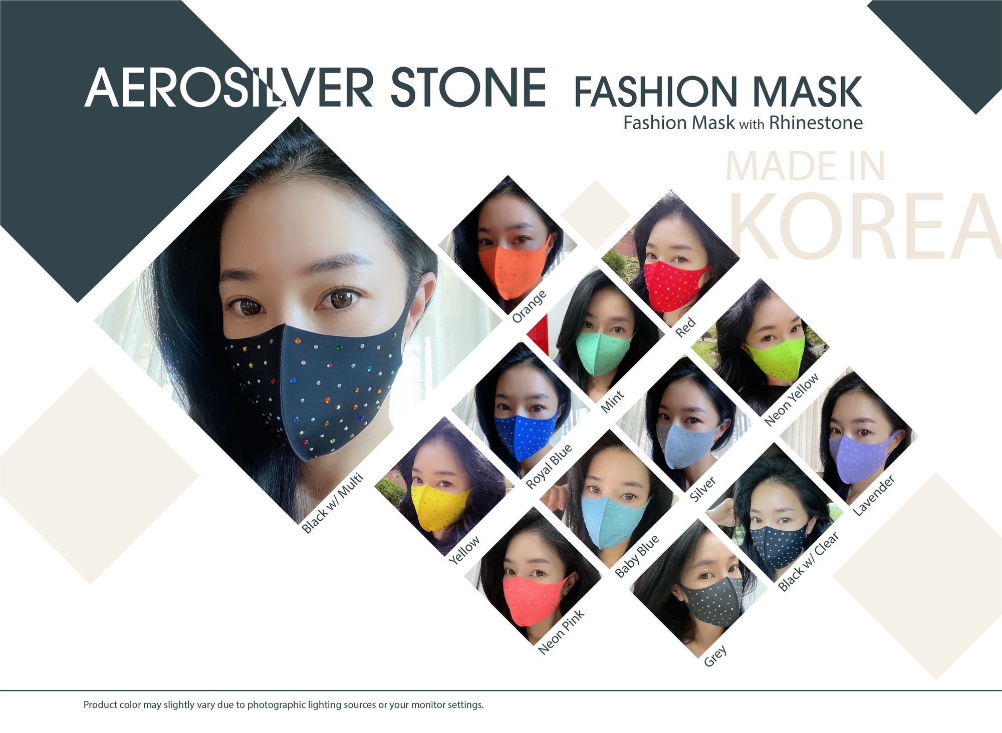 Korean Fashion Rhinestone Polyester Face Mask (PC)