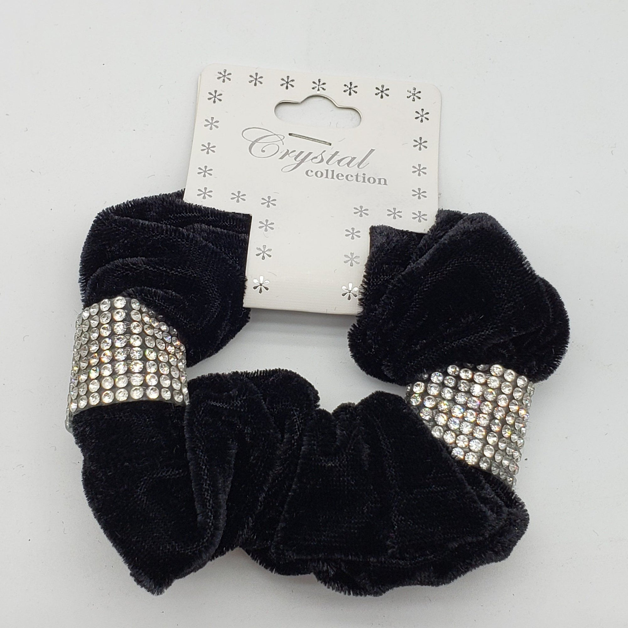 Crystal Collection Velvet Rhinestone Scrunchies #KHS0148 (12PC)