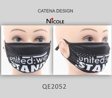 Cloth/Cotton Face Mask Black / United We Stand #QE2052 (12PC)