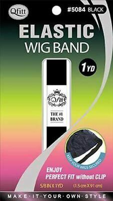 Qfitt Elastic Wig Band 1 Yard / Black #5084 (12PC)