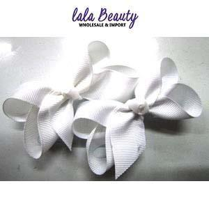 Mini Hair Bow #QHC2390WH White (2 Dozen)