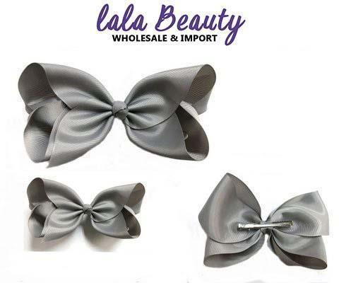 Texas Size Jumbo Hair Bow Gray (Dozen)