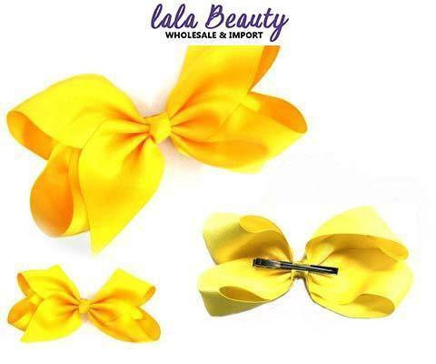 Texas Size Jumbo Hair Bow Yellow (Dozen)