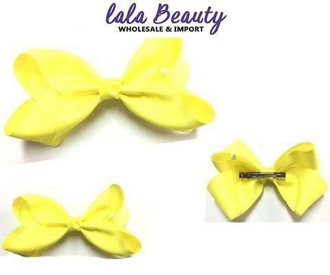 Texas Size Jumbo Hair Bow Neon Yellow (Dozen)