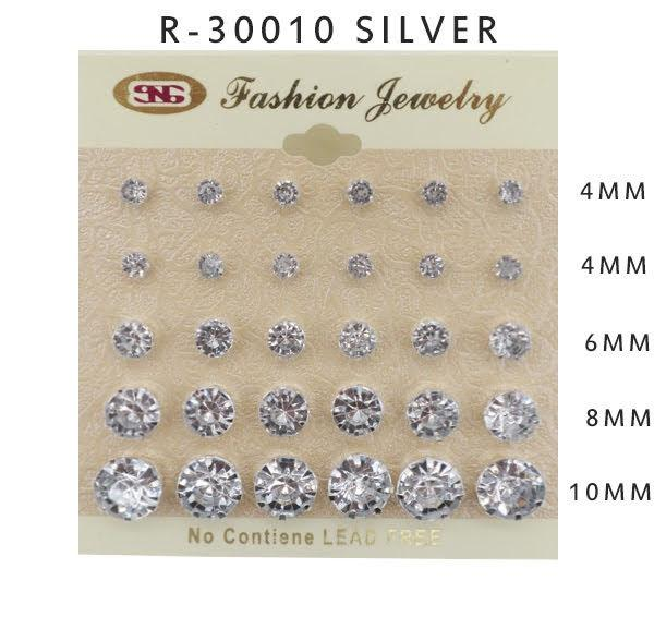 #R30010SILVER Assorted Sized Stud Earrings 4-4-6-8-10mm (12PC)
