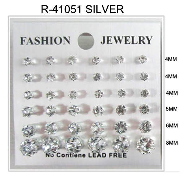 #R41051SILVER Assorted Sized Rhinestone Earrings 4-4-4-5-6-8mm (12PC)