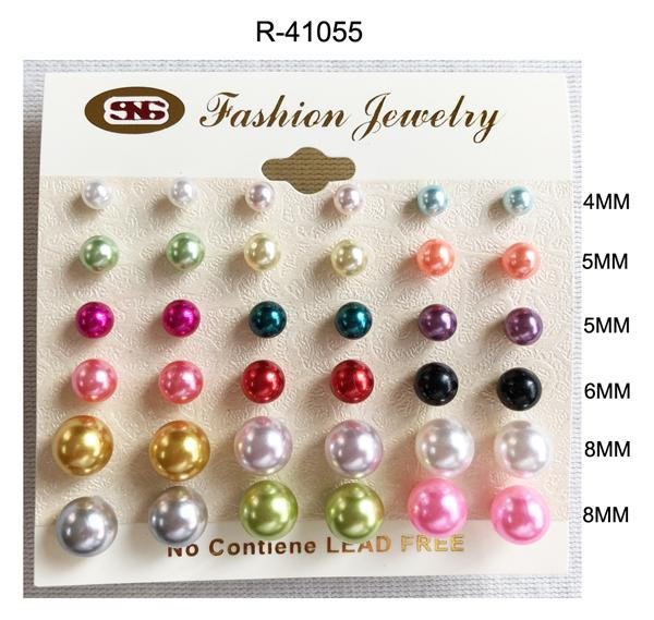 #R41055 Assorted Sized Mix Pearl Earrings 4-5-5-6-8-8mm (12PC)