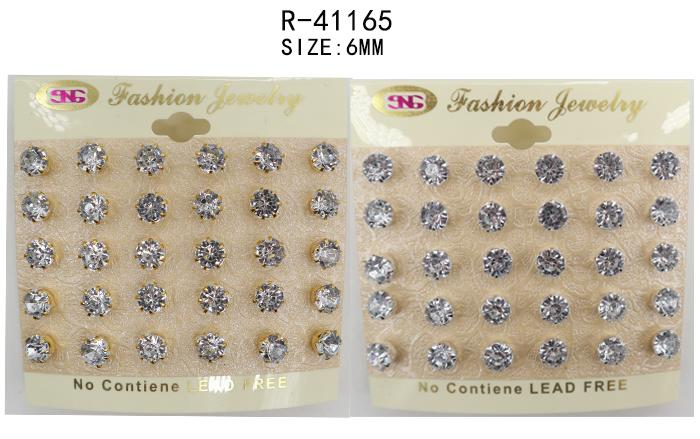 #R41165 Gold and Silver 6mm Rhinestone Earrings (12PC)