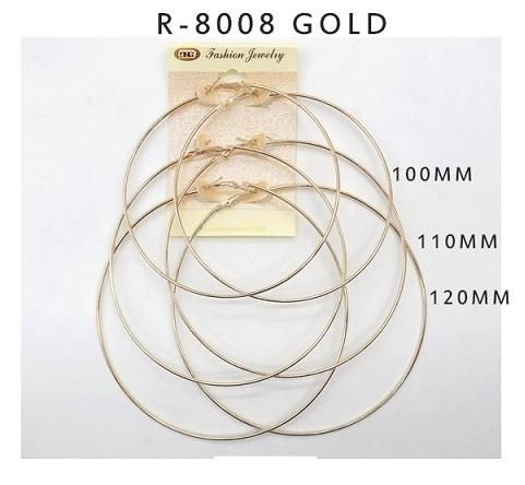 #R8008GOLD Fashion Hoop Earrings by the 100-110-120mm (12PC)