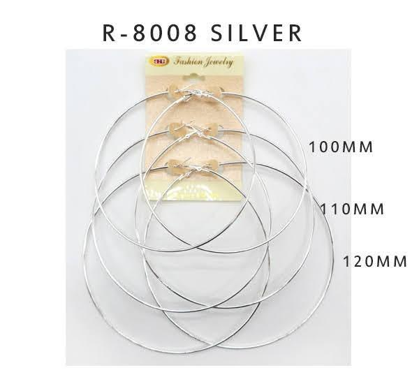 #R8008SILVER Fashion Hoop Earrings by the 100-110-120mm (12PC)