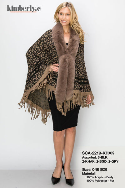KimberlyC Faux Fur Detail Leopard Print Shawl With Fringed Hem #SCA2219 (PC)
