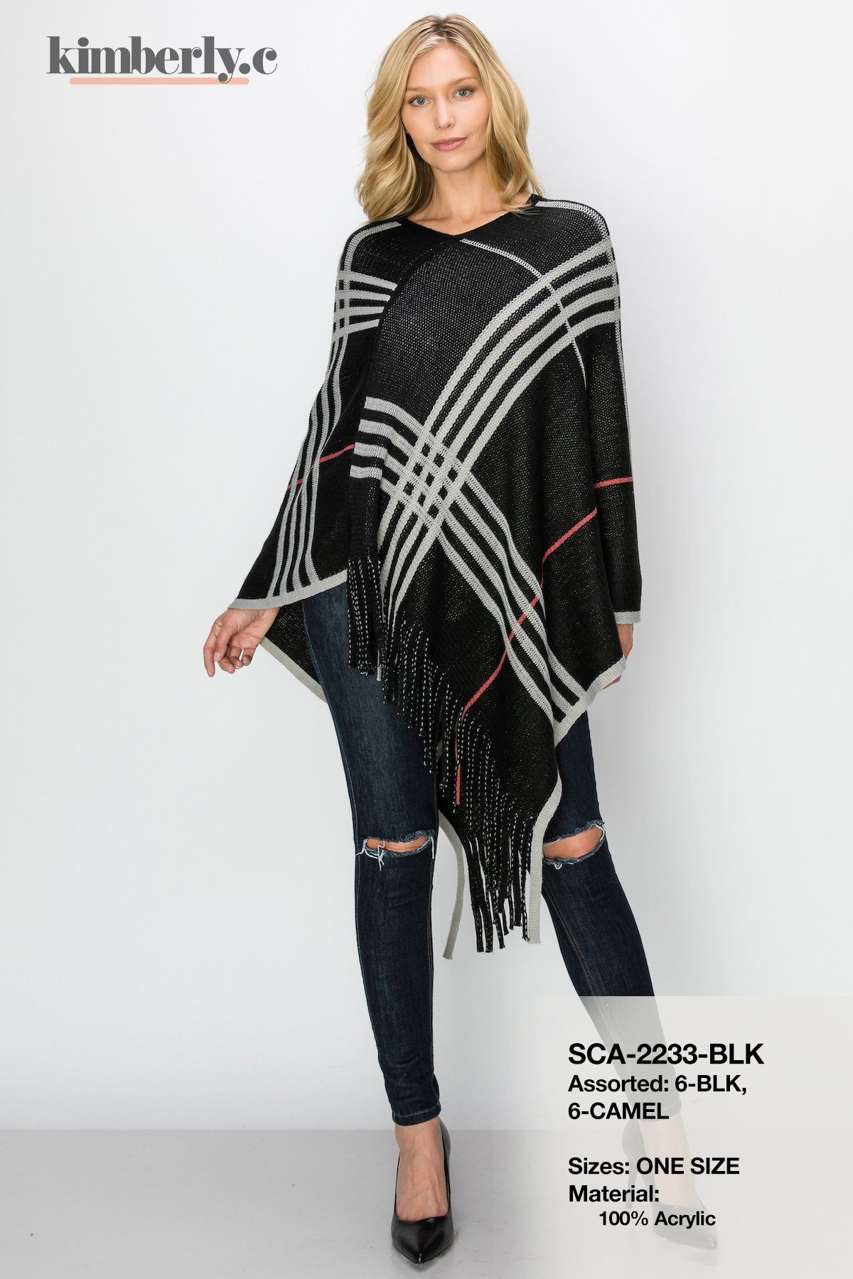 KimberlyC Striped Poncho #SCA2233 (PC)