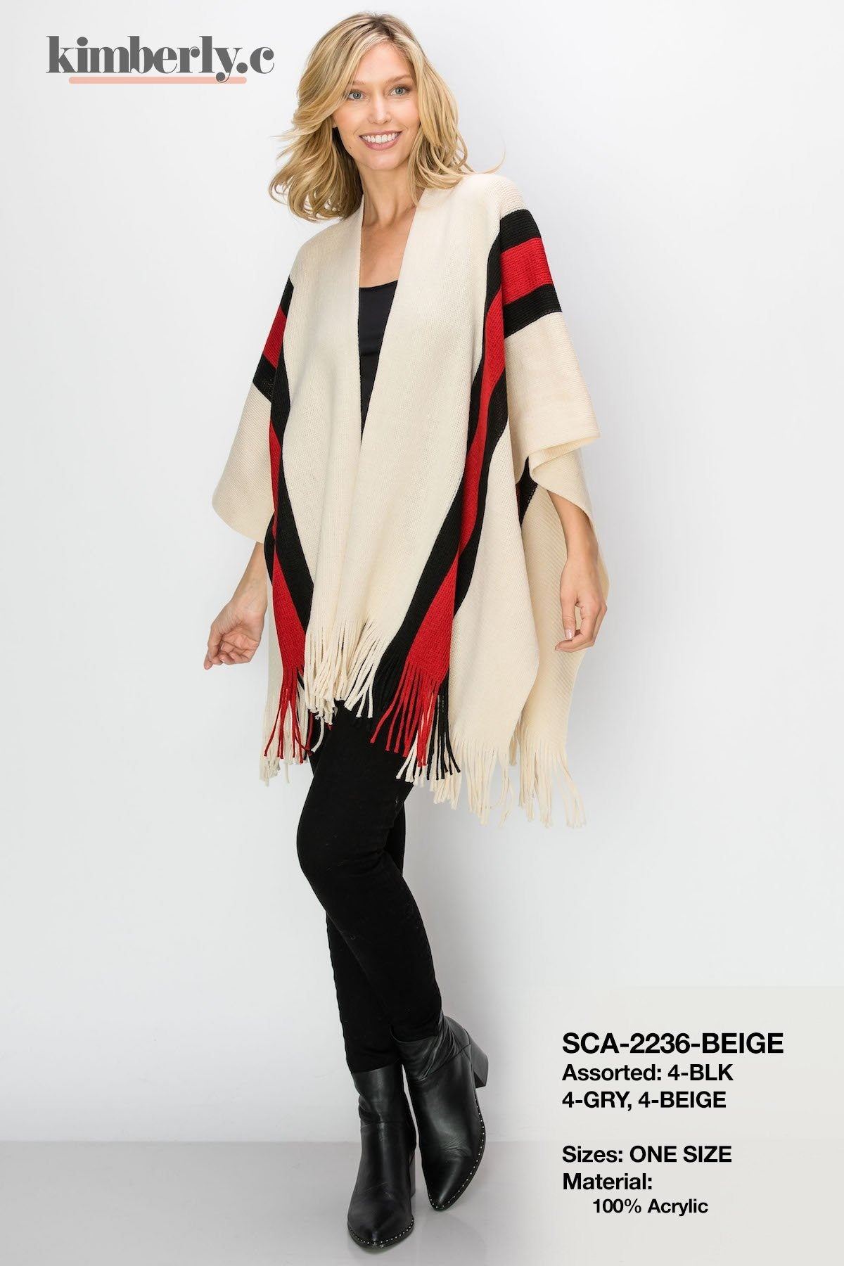 KimberlyC Striped Poncho Jacket #SCA2236