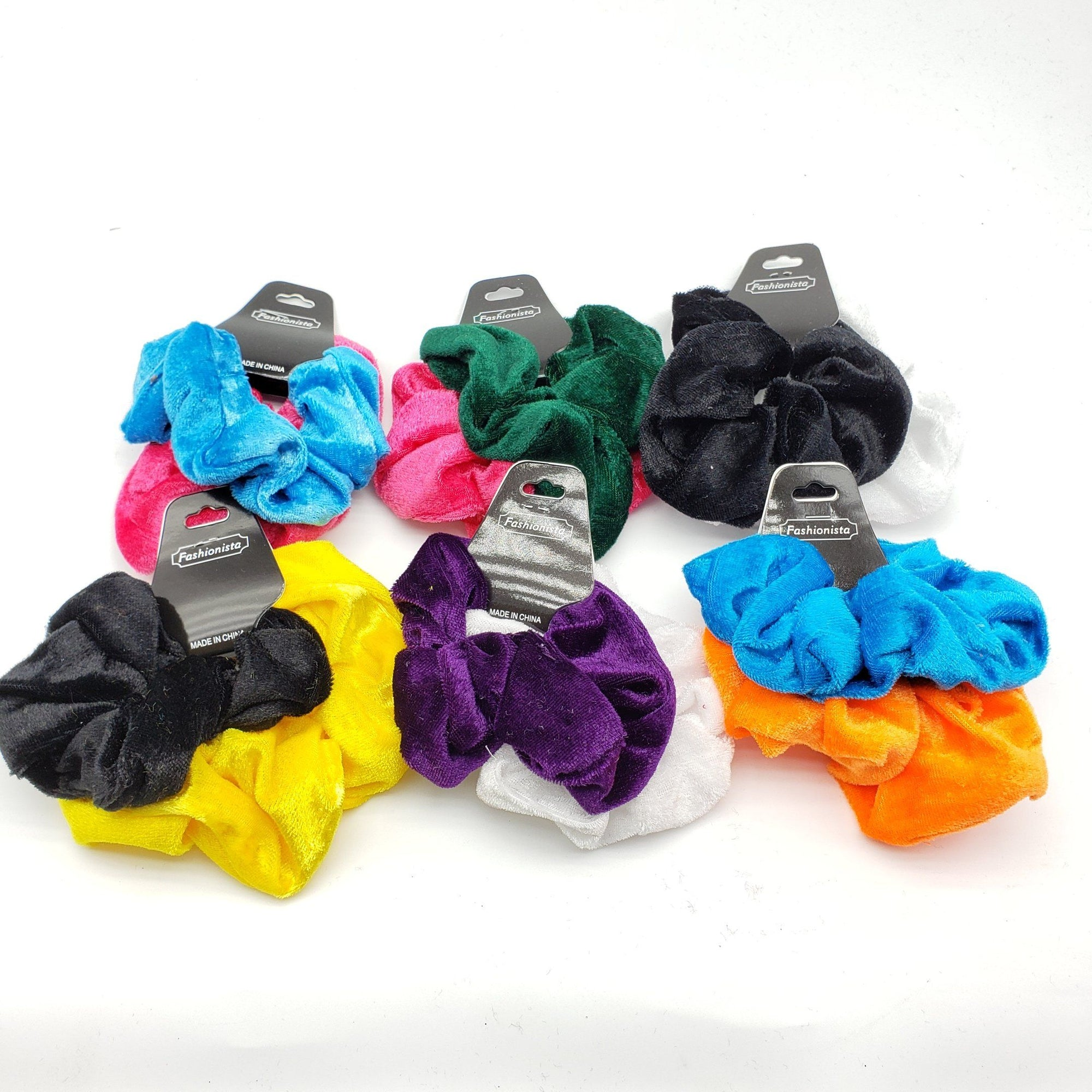 Fashionista Velvet Scrunchies Assort #SW5001R (24PC)