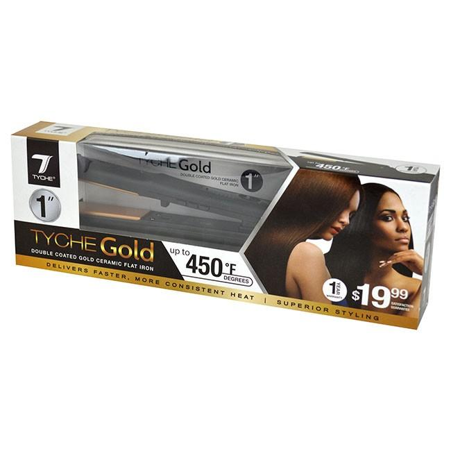 "Tyche 1"" Gold Coated Ceramic Flat Iron #TG100 (PC)"