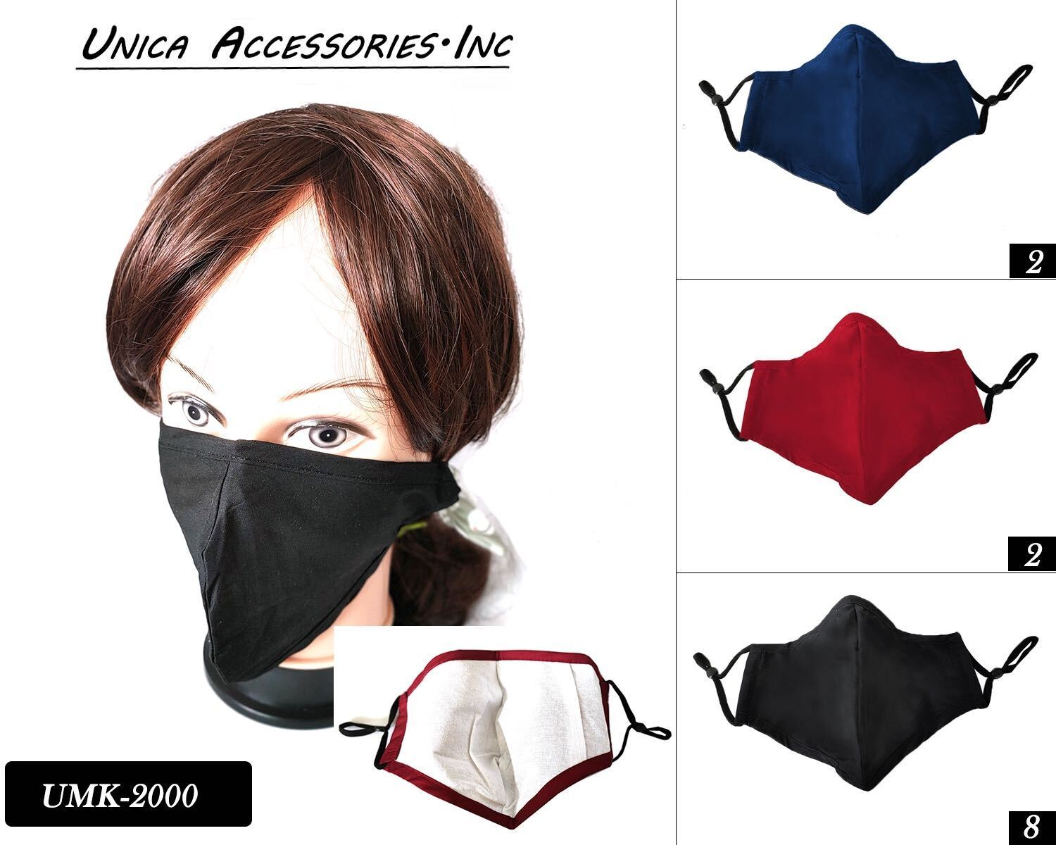 Cloth/Cotton Face Mask Assort / Plain #UMK2000 (12PC)