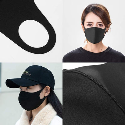 Black Polyester Face Mask (12PC)