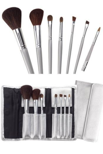 Cala 7pc Cosmetic Brush Set w/ Silver Pouch #70816