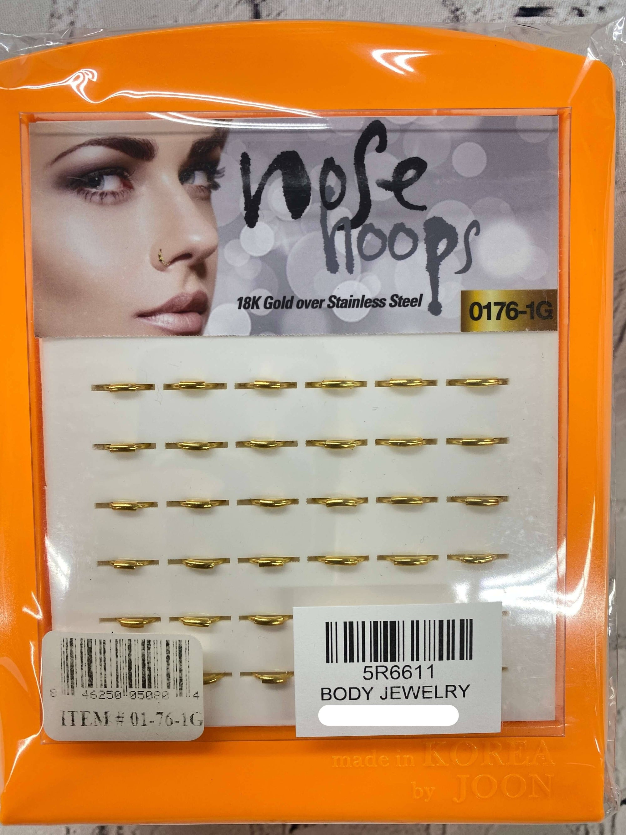 Nose Hoops 18K Gold Stainless Steel #01-76-1G(36pc)