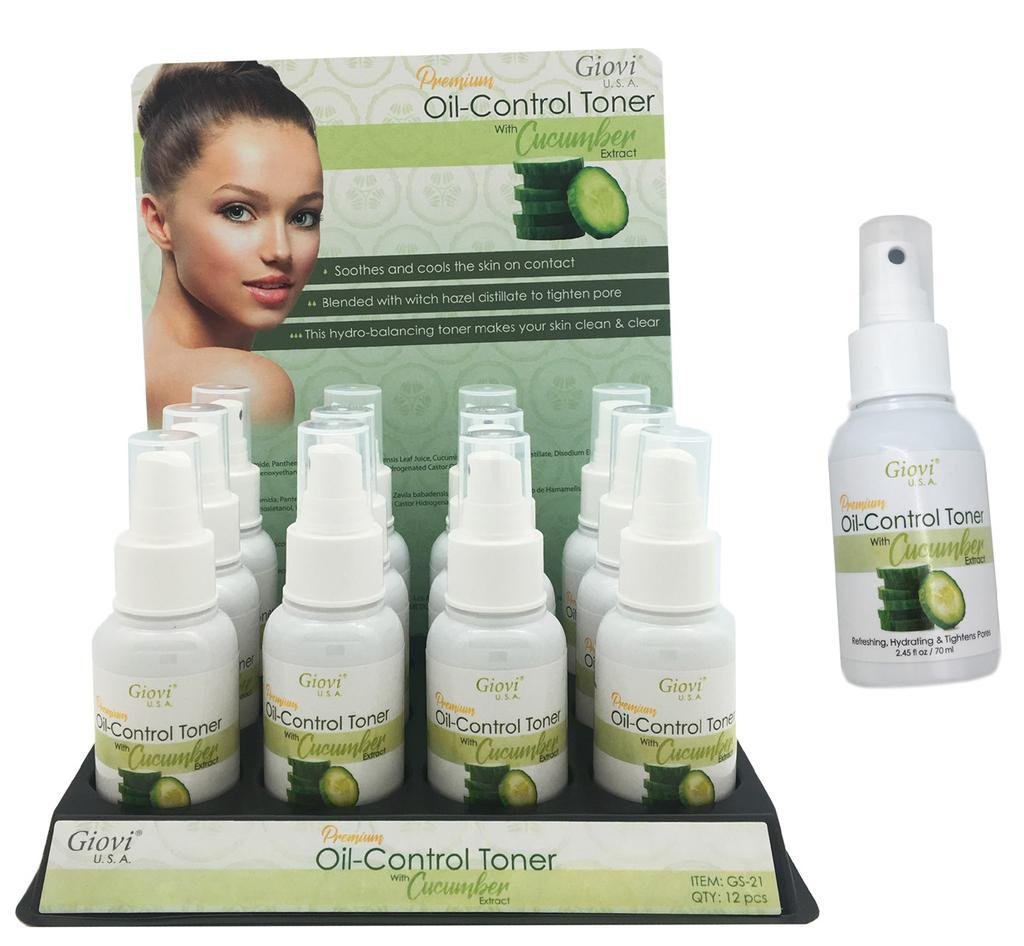 Giovi Premium Oil Control Toner with Cucumber Extract Set #GS21 (12PC)