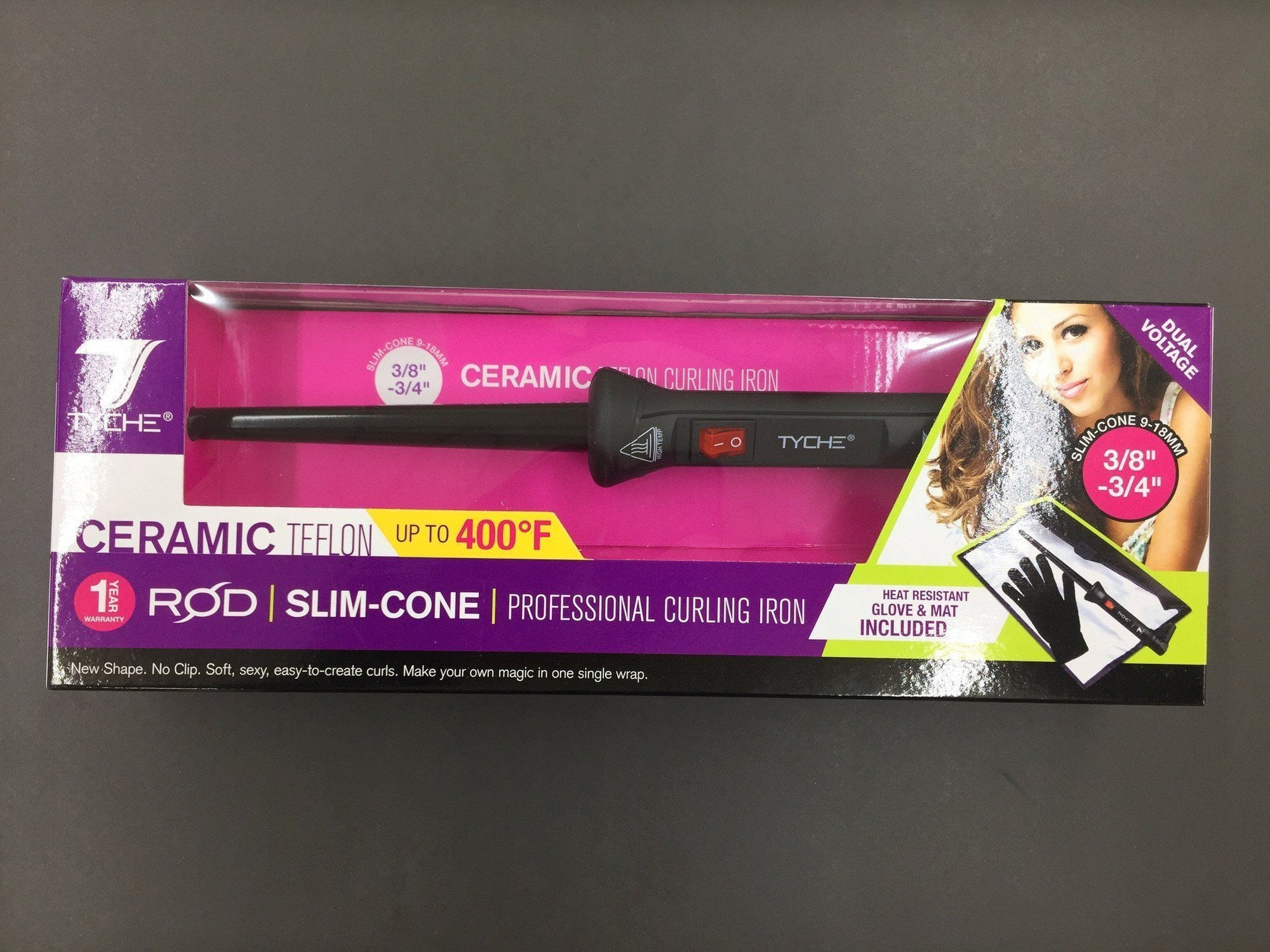 "Tyche 0.375-0.75"" Ceramic Teflon Slim-Cone Curling Iron #TCR-SC"