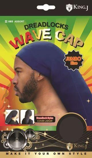 #085 Dreadlocks Wave Cap Jumbo Size Black (12PC)