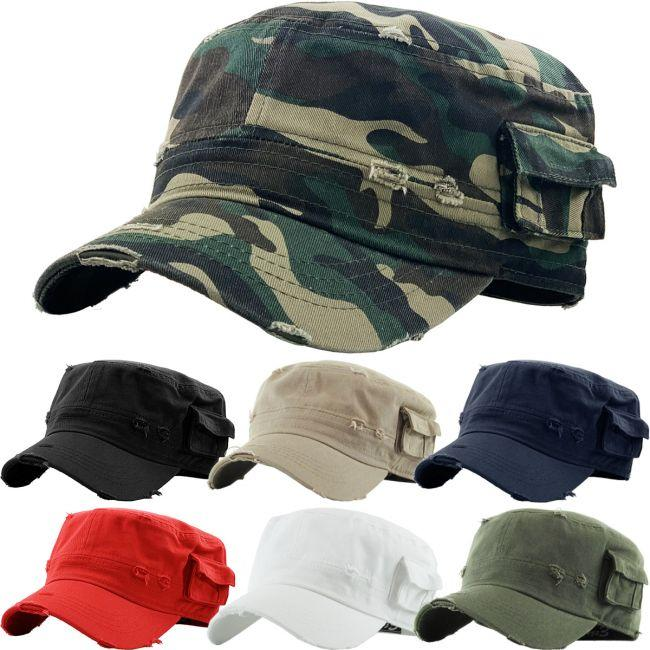 KBETHOS Fitted Distressed Army Cap #KBW1465 (PC)