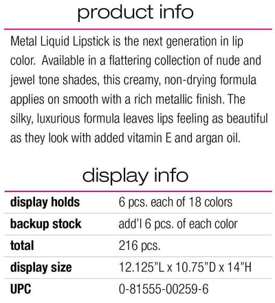 LA Girl Metal Liquid Lipstick Set/Display #GCD259.1 (216PC)