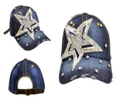 Large Side Double Star Denim Hat (PC)