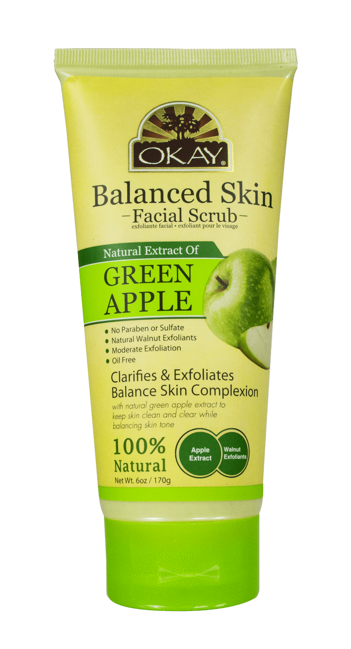 Okay Balanced Skin Facial Scrub, Green Apple