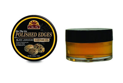 Okay Polished Edges with Black Jamaican Castor Oil, 0.5oz (12PC)