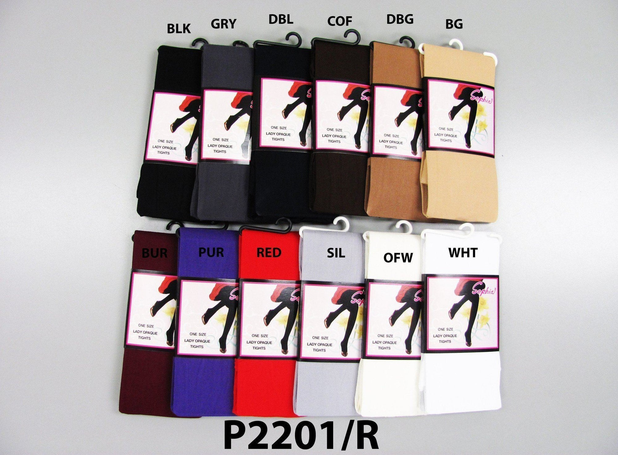 #P2201 Sophia Lady Opaque Tights One Size (6Pc) - Multiple Colors