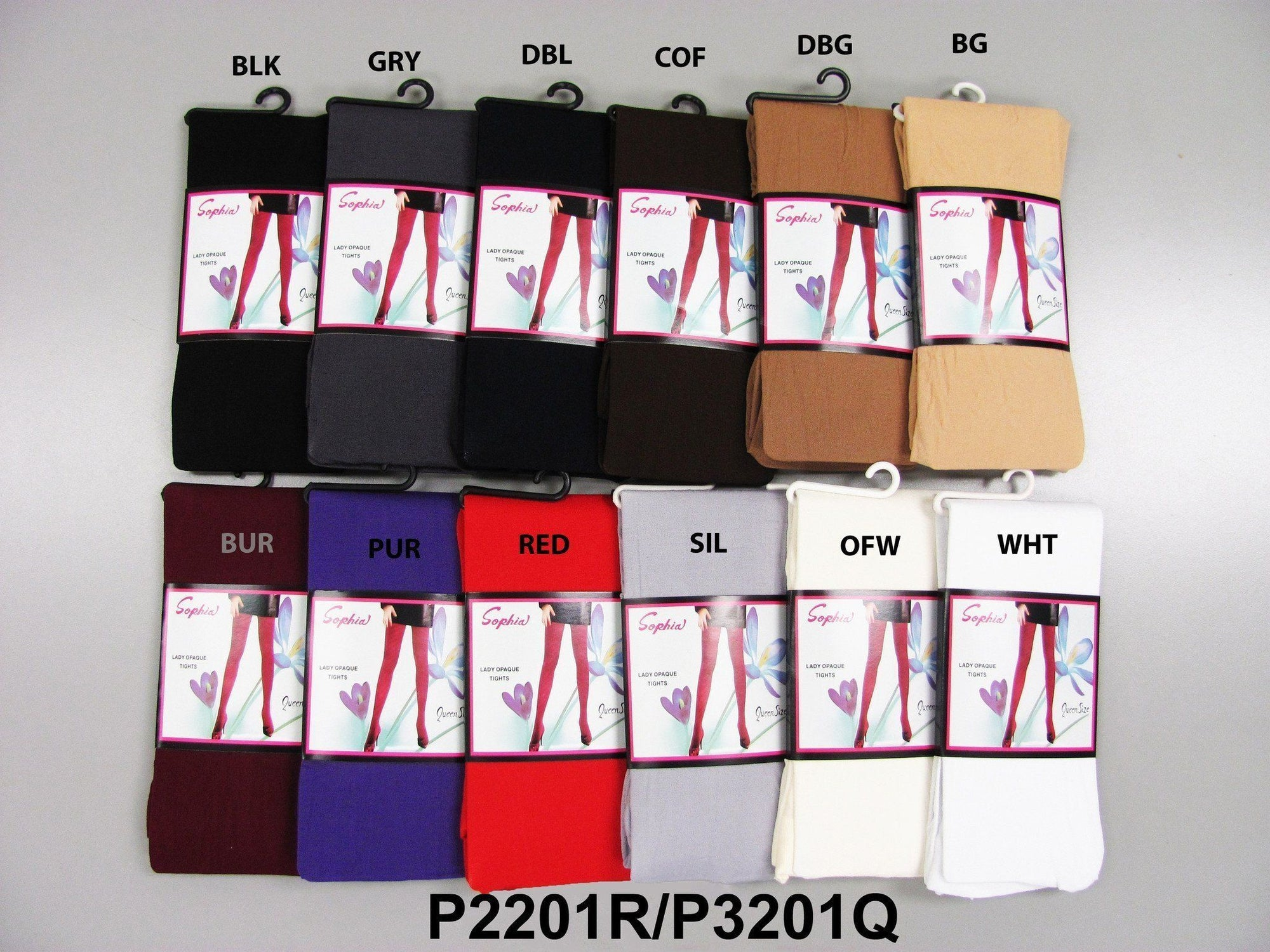 #P3201 Sophia Lady Opaque Tights Queen (6Pc) - Multiple Colors