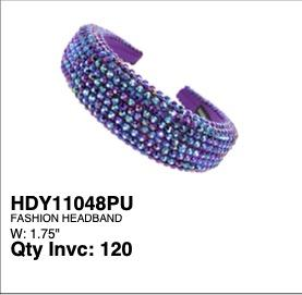Thick Rhinestone Head Band Purple #EHB4040PU (PC)