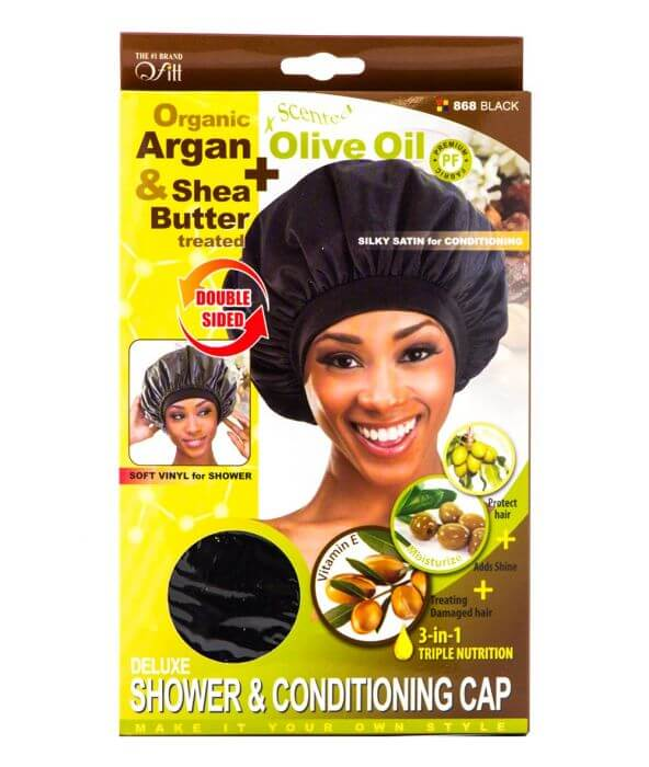 Qfitt Deluxe Shower & Conditioning Cap / Black #868 (12PC)