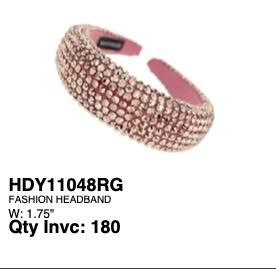 Thick Rhinestone Head Band Rose Gold #EHB4040RG (PC)