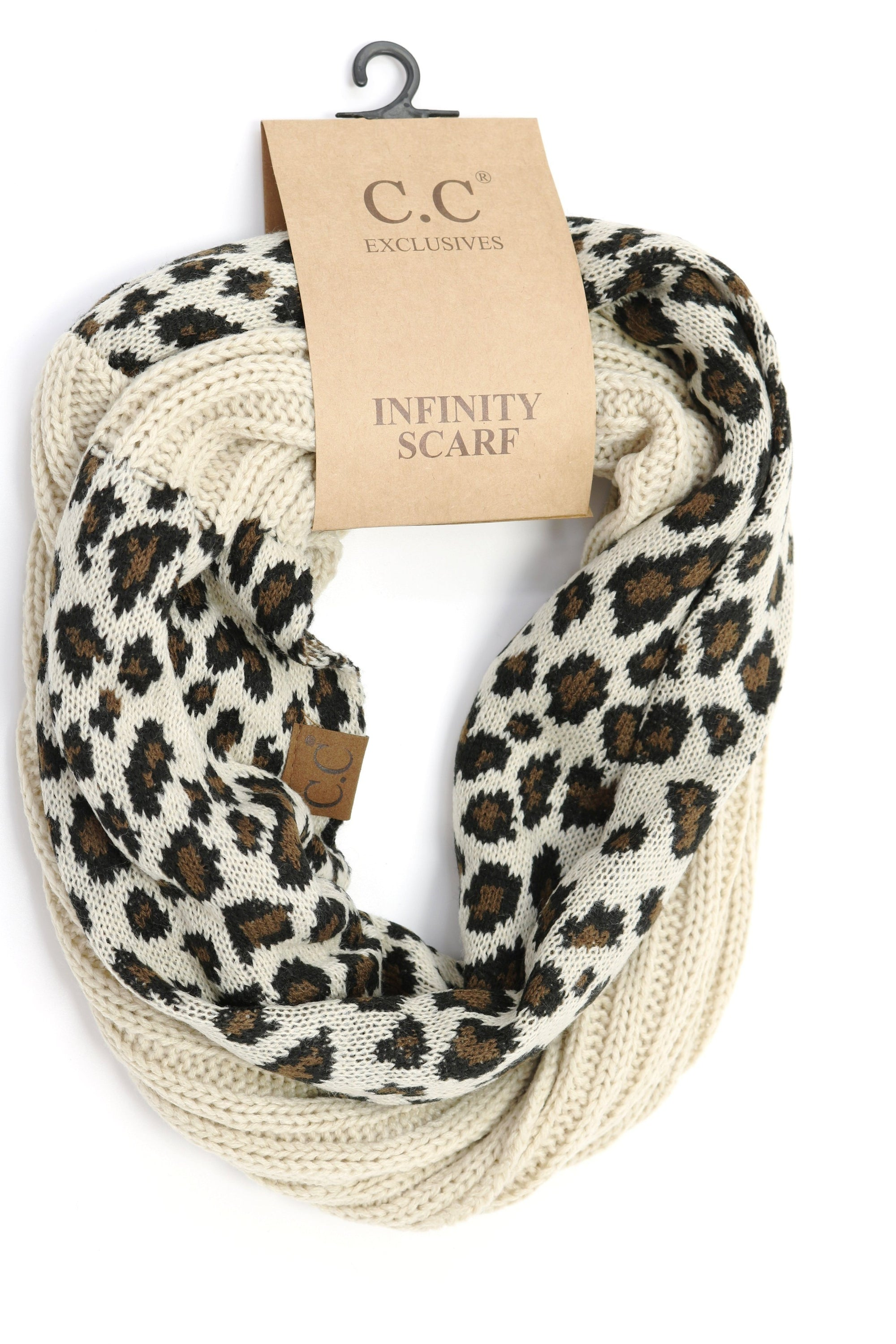 C.C. Ribbed Knit Leopard Accent Infinity Scarf #SF80 (PC)
