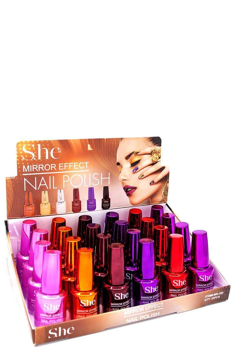 She Mirror Effect Nail Polish Set #MN-385 (24PC)