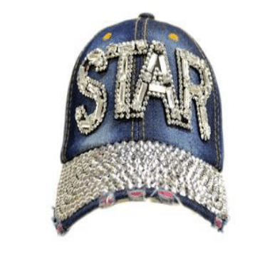 All Rhinestone Cap STAR Denim Hat (PC)