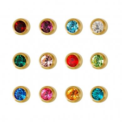 Studex Gold Plated Assorted 3MM Birthstars Crystal Studs #R213Y (12PC)