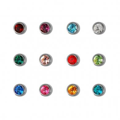 Studex Stainless Steel Assorted Birthstars Crystal Studs #M213W (12PC)