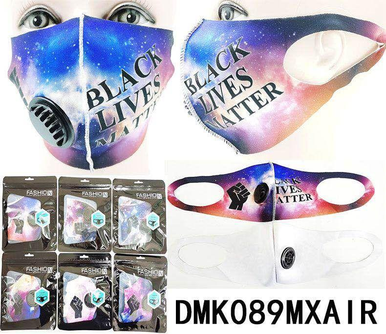BLM Galaxy Print Polyester Face Mask w/ Vent #DMK089MXAIR (12PC)