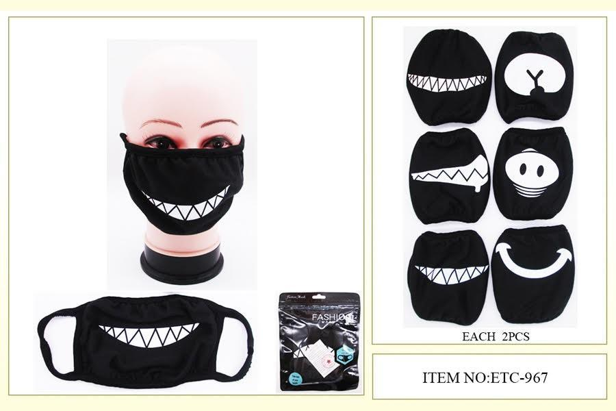 Cloth/Cotton Face Mask Black / Mouth Design #ETC967 (12PC)