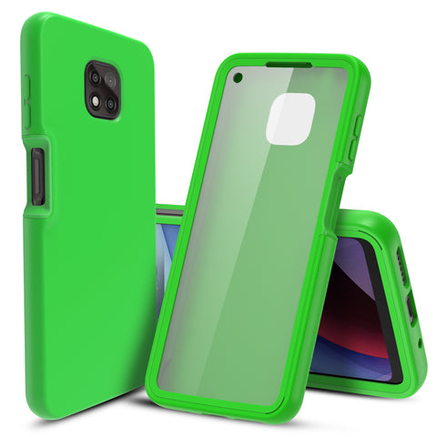 Full Body Case with Built-in Screen Protector for Motorola Moto G Power (2021) (Green)