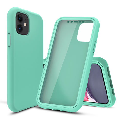 Pastel Mint Silicone Case with Built-in Screen Protector for iPhone 11