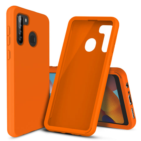 Silicone Case with Built-in Screen Protector for Samsung Galaxy A21 (Orange)