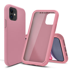 Pastel Pink Silicone Case with Built-in Screen Protector for iPhone 11