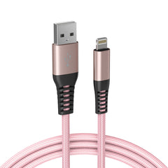Limebrite 10ft Double Braided Nylon Apple MFi Certified USB Charging Cable (Pink Rose Gold)