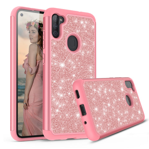 Sparkling Glitter Case for Samsung Galaxy A11 (Pink Rose Gold)